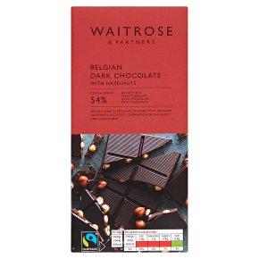 Waitrose Belgian Dark Chocolate With Hazelnuts
