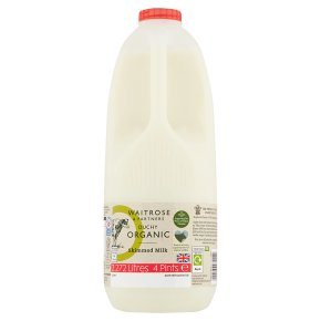 Waitrose Duchy Organic skimmed milk