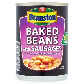 Branston baked beans with sausages