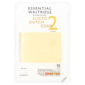 essential Waitrose Dutch edam cheese, strength 2, 10 slices