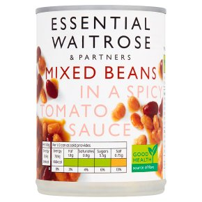 essential Waitrose canned mixed beans in a spicy tomato sauce
