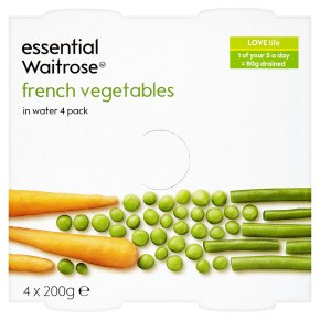 essential Waitrose canned French vegetables in water, 4 pack