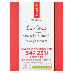 Waitrose LoveLife Calorie Controlled tomato & basil soup in a cup