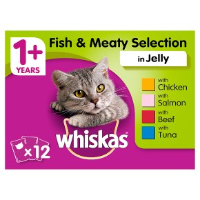 WHISKAS 1+ Cat Pouches Meaty Selection in Jelly 12 x 100g