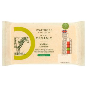 Waitrose Duchy Organic English medium Cheddar cheese, strength 3
