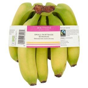 Waitrose Fairtrade 7 small Caribbean Bananas in a bag