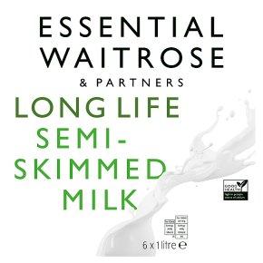 Essential Waitrose semi-skimmed long life milk