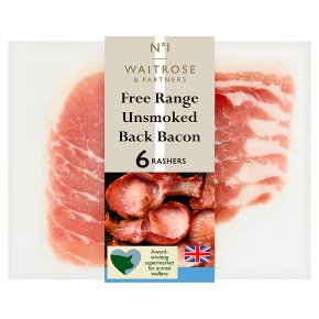 Waitrose 1 free range unsmoked back bacon, 6 rashers