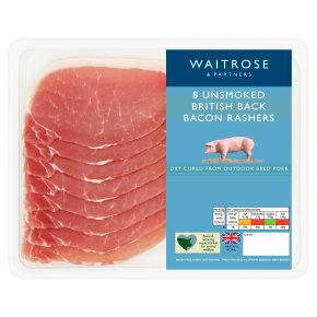 British unsmoked back bacon, 8 rashers