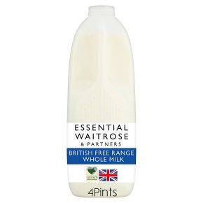 essential Waitrose whole milk 3.6% fat 4 pints