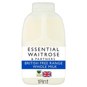 essential Waitrose whole milk 3.6% fat 1 pint