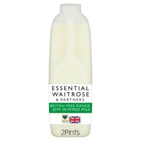 essential Waitrose semi-skimmed milk 1.7% fat 2 pints