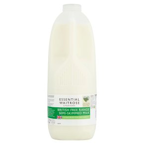 essential Waitrose semi-skimmed milk 1.7% fat  4 pints