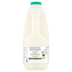 essential Waitrose semi-skimmed milk 1.7% fat 6 pints