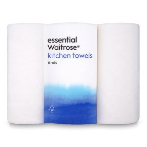 essential Waitrose kitchen towels, white - 6 rolls