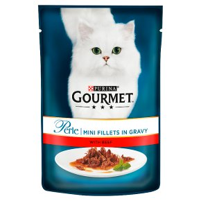 GOURMET Perle Adult Cat Mini Fillets in Gravy Beef Wet Cat Food Pouch