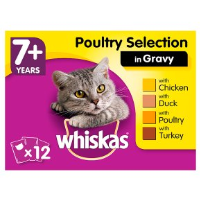 WHISKAS 7+ Senior Cat Pouches Poultry Selection in Gravy 12 x 100g