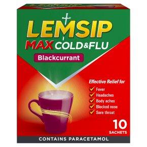 Lemsip Max 10 cold & flu sachets, blackcurrant flavour