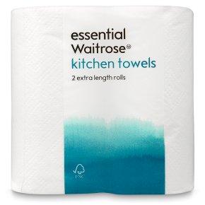 essential Waitrose extra length kitchen towels - 2 rolls