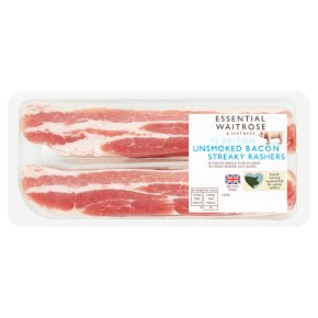 Waitrose essential streaky bacon rashers unsmoked