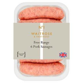 Waitrose 1 Free Range Pork Sausages 6s