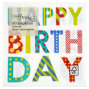 Waitrose 33cm Happy Birthday napkins, pack of 20