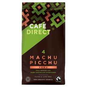 Cafédirect Organic Fairtrade Machu Picchu ground coffee - Waitrose on coffee bean, green tea, rock house on the grounds, green tea grounds, soft drink, instant coffee, black grounds, french press for grounds, espresso grounds,