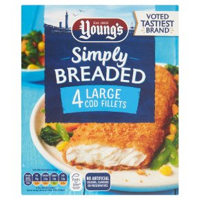 Young's 4 Large Cod Fillets in Breadcrumbs
