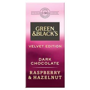 Green & Black's Velvet Edition Raspberry & Hazelnut dark chocolate bar