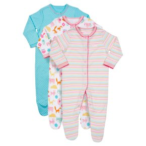 Waitrose 3PK Animals Sleepsuits 6-9M