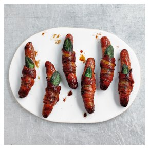 Waitrose 1 Free Range Pork Chipolatas Wrapped in Air Dried Bacon with Sage Leaf