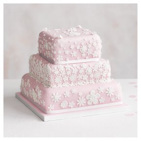 Blossom 3 Tier Pastel Pink Wedding Cake, Fruit (Base tier) & Chocolate Salted Caramel (top 2 tiers)