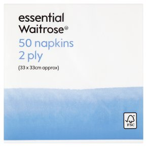 essential Waitrose 33cm napkins, pack of 50