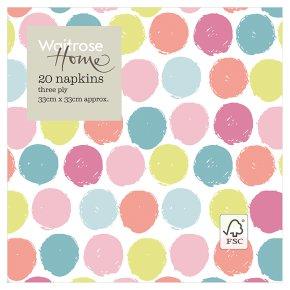 Waitrose Home Pastel Spot Napkins 33cm x 33cm