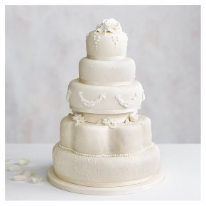 Grace Five Tier Ivory Wedding Cake (Fruit and golden sponge)