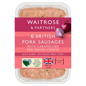Waitrose 6 British pork sausages with caramelised red onion confit