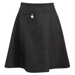 Girls A-line skirt, grey, 4 years