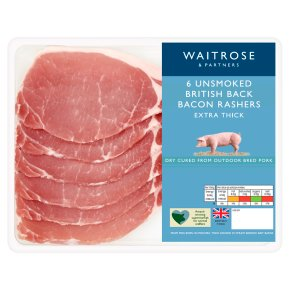 Waitrose Extra Thick Cut Unsmoked Dry Cured Back Bacon