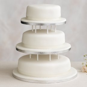 Soft Iced 3 Tier White Wedding Cake with Dowling, Madeira Sponge (3 tiers)