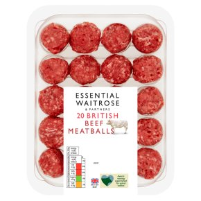 essential Waitrose 20 British beef meatballs