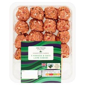 Waitrose 4 Harissa & Date Lamb Kebabs