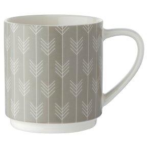 Waitrose Grey Chevron Dash Mug