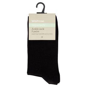 Waitrose Supersoft Ankle Socks Black