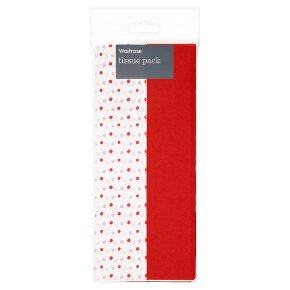 Waitrose red polka 50 x 66cm tissue paper, 8 sheets