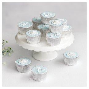 12 Blossom Golden Sponge Pastel Blue Cupcakes
