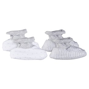 Waitrose unisex baby booties, pack of 2