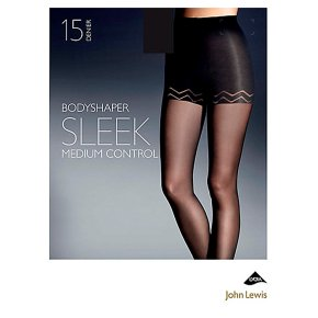 John Lewis 15 denier sleek natural black bodyshaper (medium)