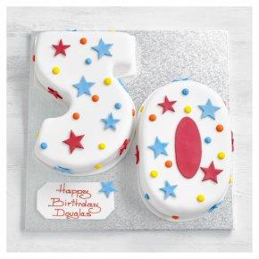 50th Birthday stars and dots cake