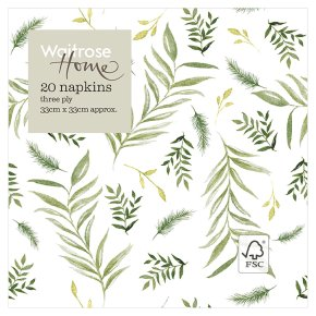 Waitrose Home Leaf Napkins 33cm x 33cm