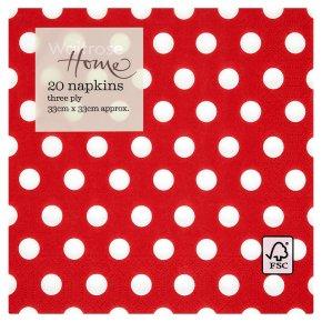 Waitrose Home Red Spot Napkins 33cm x 33cm
